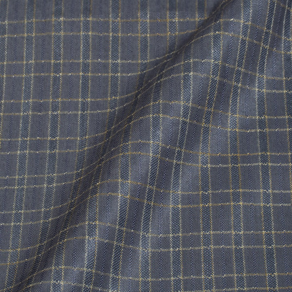 Steel Grey Colour Checks Bhagalpur Jacquard Cotton Fabric