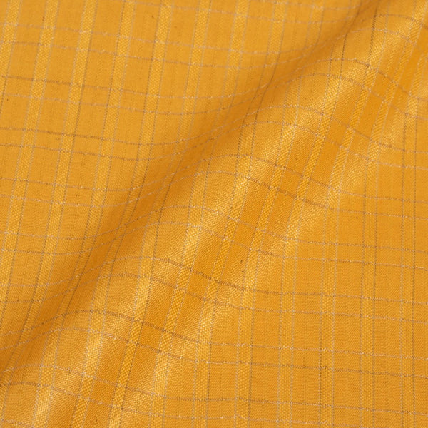 Golden Yellow  Colour Checks Bhagalpur Jacquard Cotton Fabric