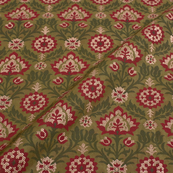 Mehndi Green Colour Gold Floral Print Chanderi Feel Poly Fabric