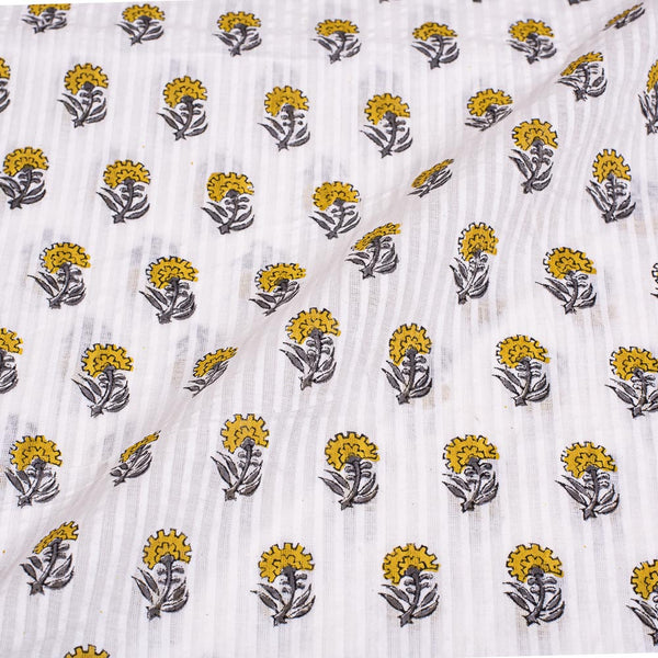 White Colour Floral Block Print Cotton Fabric