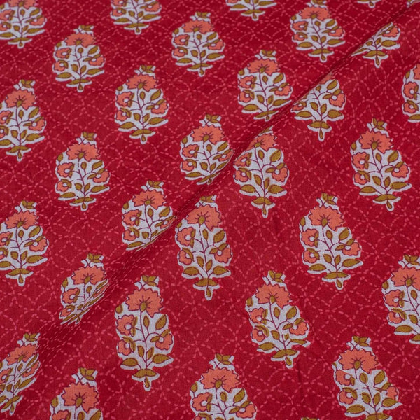 Red Colour Floral Screen Print Cotton Fabric