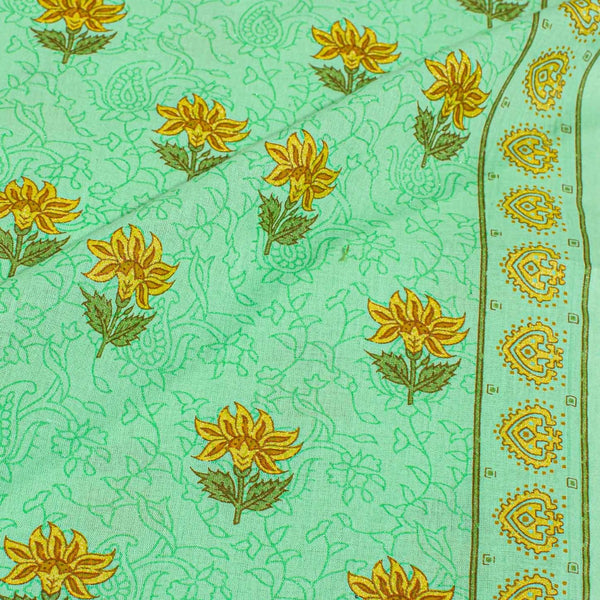 Pista Green Colour Floral Screen Print With One Side Border Cotton Fabric