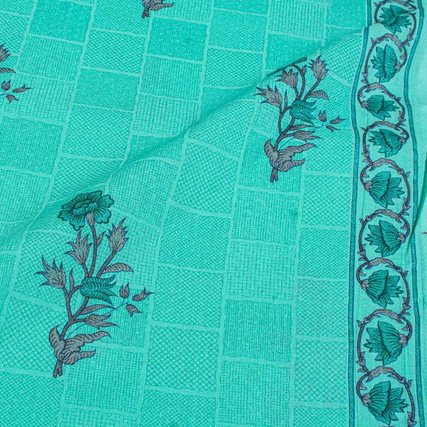 Pastel Mint Colour Floral Screen Print With One Side Border Cotton Fabric