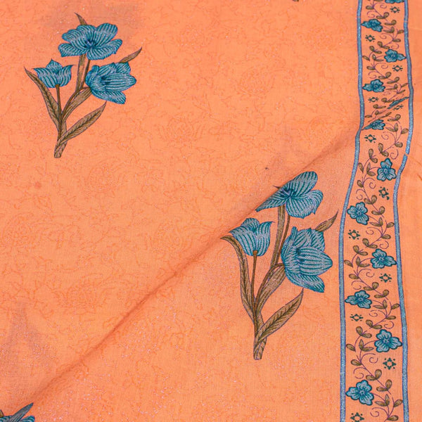 Tangerine Orange Colour Sanganeri Screen Print With One Side Border Cotton Fabric
