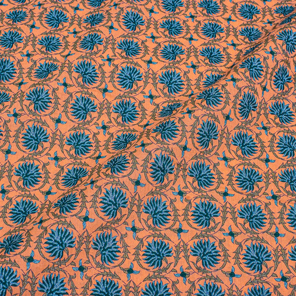 Tangerine Orange Colour Floral Jaal Print With One Side Border Cotton Fabric