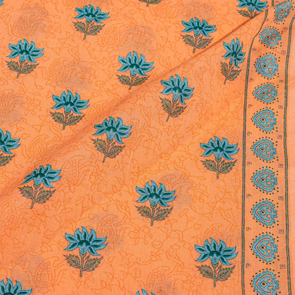 Tangerine Orange Colour Floral Screen Print With One Side Border Cotton Fabric