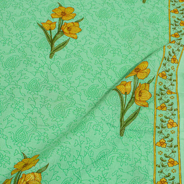 Pista Green Colour Sanganeri Screen Print With One Side Border Cotton Fabric