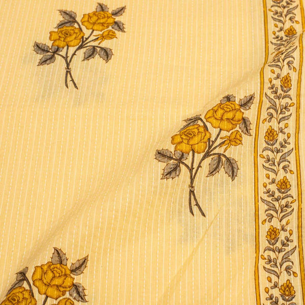 Cream Yellow Colour Floral Print One Side Border Kantha Cotton Fabric