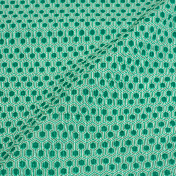 Mint Colour Geometric Print Kantha Cotton Fabric