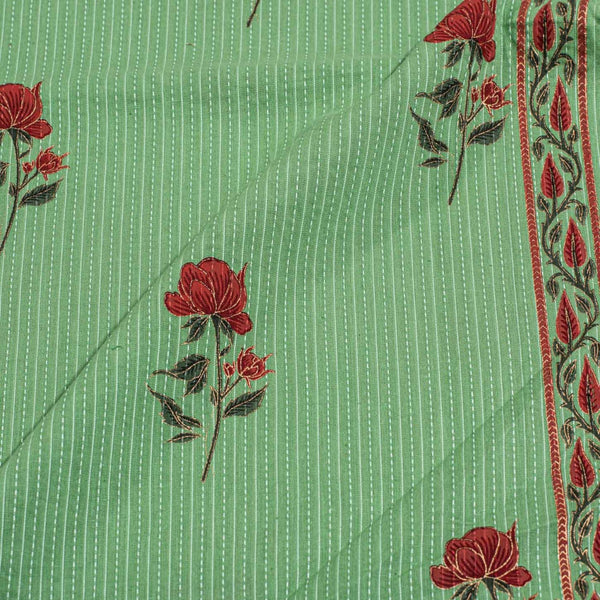 Laurel Colour Gold Floral Print With One Side Border Kantha Cotton Fabric