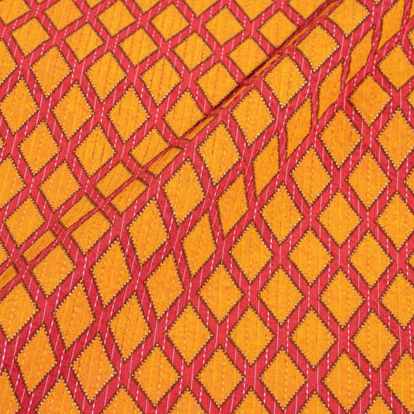 Carrot Orange Colour Gold Geometric Print Kantha Cotton Fabric