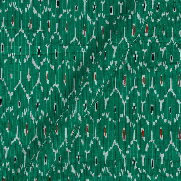 Cotton Green Colour 34 Inches Width Ikat Print Pin Tucks Fabric