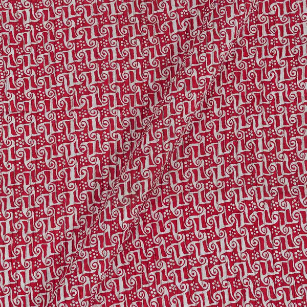Cotton Red Colour 36 Inches Width Geometric Print Pin Tucks Fabric