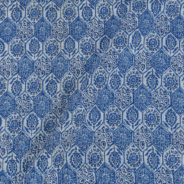 Cotton Ink Blue Colour 36 Inches Width Geometric Print Pin Tucks Fabric