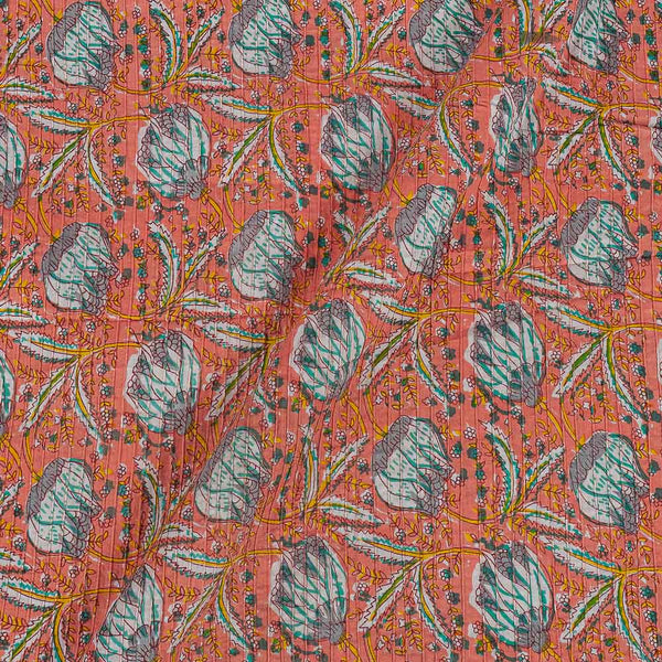 Cotton Peach Colour 33 Inches Width Floral jaal Print Pin Tucks Fabric
