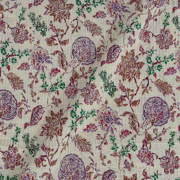 Cotton Off White Colour 36 Inches Width Floral jaal Print Pin Tucks Fabric