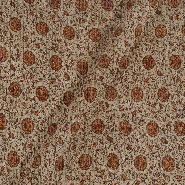 Cotton Beige Colour 34 Inches Width Floral jaal Print Pin Tucks Fabric