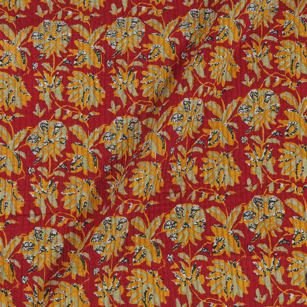 Cotton Red Colour 35 Inches Width Floral jaal Print Pin Tucks Fabric
