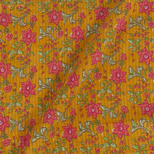 Cotton Mustard Colour 38 Inches Width Floral jaal Print Pin Tucks Fabric