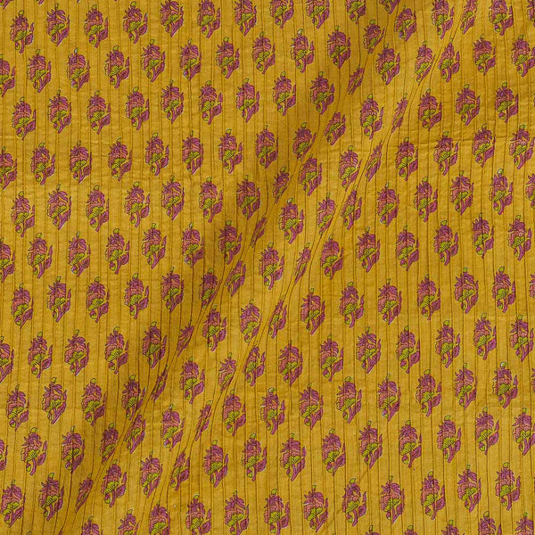 Cotton Yellow Colour 34 Inches Width Floral Print Pin Tucks Fabric