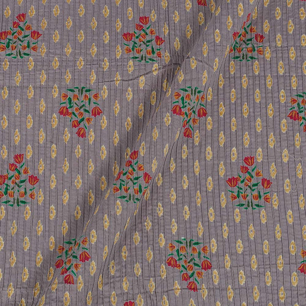 Cotton Lilac Colour 36 Inches Width Floral Print Pin Tucks Fabric