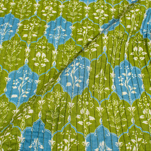 Green Colour Floral Print Pin Tucks Cotton Fabric 34 inch Width