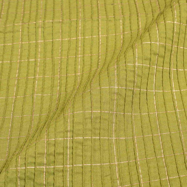 Mehndi Green Colour Geoemtric Print 36 inch Width Pin Tucks Cotton Fabric