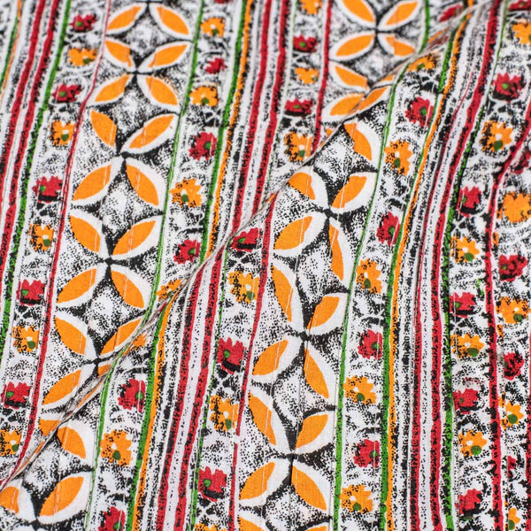 Multi Colour Floral Jaal Print 38 inch Width Pin Tucks Cotton Fabric