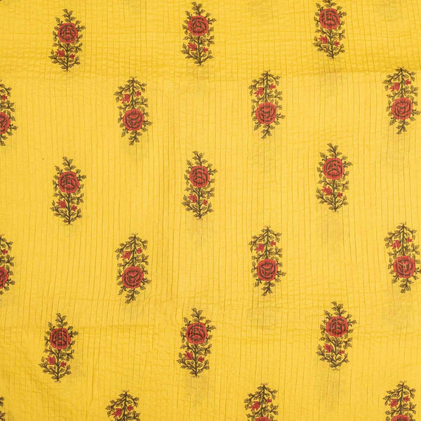 Yellow Colour Mughal Print 37 inch Width Pin Tucks Cotton Fabric