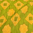 Green Colour Geometric Print Pin Tucks Cotton Fabric 34 inch Width