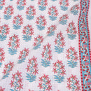 Off White Colour Floral Print With One Side Border Cotton Fabric