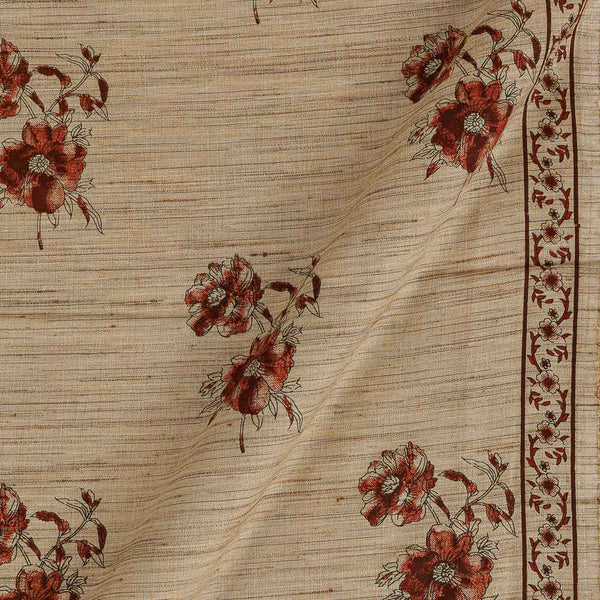 Cotton Beige Colour Floral Print With One Side Border 42 inches Width Fabric