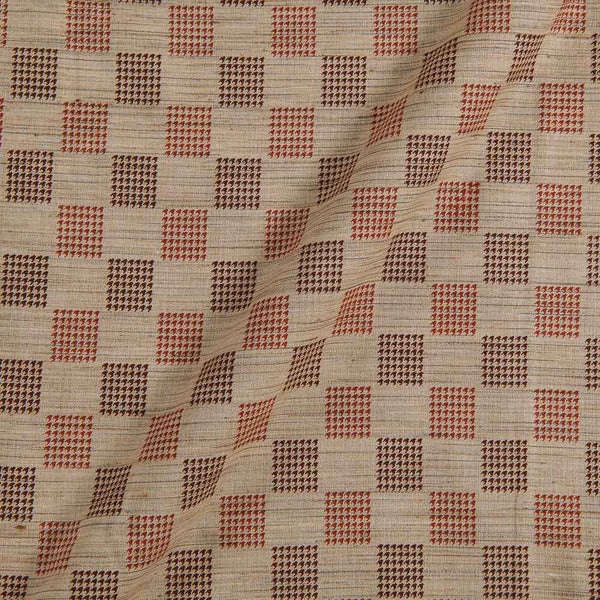 Cotton Beige Colour Geometric Print 42 inches Width Fabric
