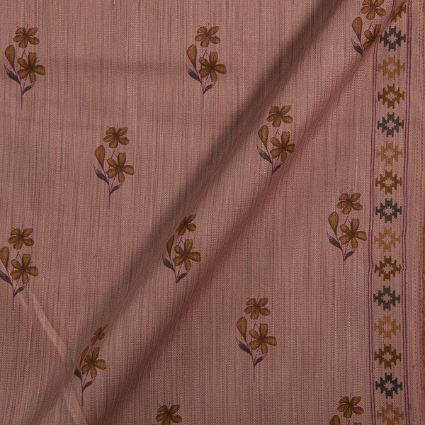 Cotton Satin Dusty Rose Colour Floral Print With One Side Border 42 inches Width Fabric