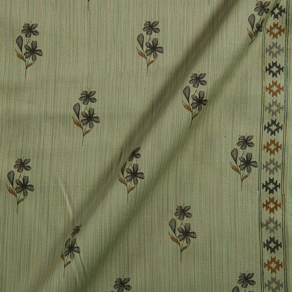 Cotton Satin Pastel Green Colour Floral Print With One Side Border 42 inches Width Fabric