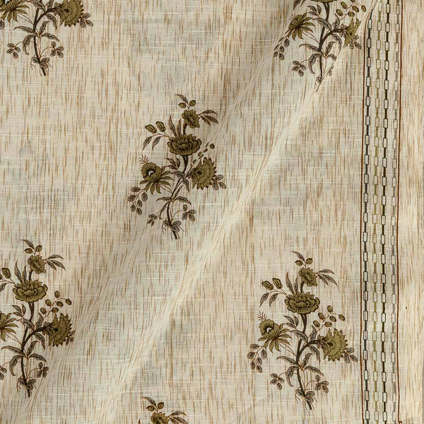Slub Cotton Beige Colour Floral Print With One Side Border 42 inches Width Fabric