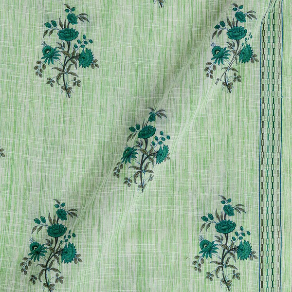 Slub Cotton Pista Green Colour Floral Print With One Side Border 42 inches Width Fabric