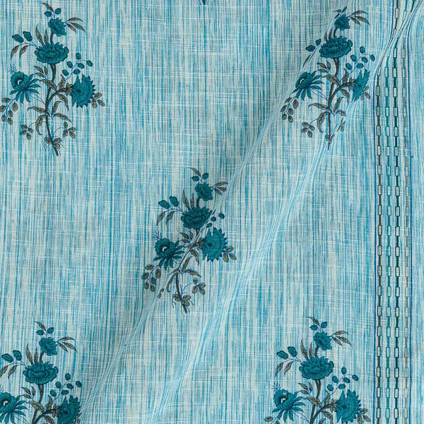 Slub Cotton Baby Blue Colour Floral Print With One Side Border 42 inches Width Fabric