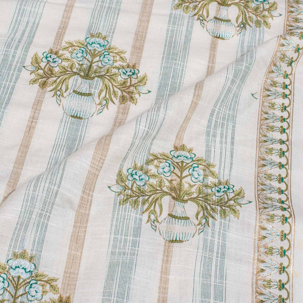 Off White Colour Gold Floral Print Handloom Effect South Cotton Fabric