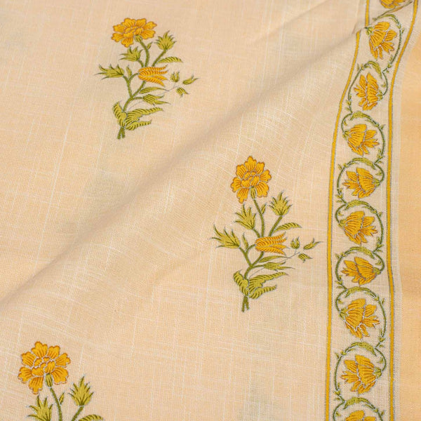 Pastel Peach Colour Gold Floral Print Handloom Effect South Cotton Fabric