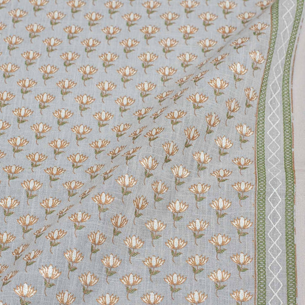 Smoke Grey Colour Gold Geometric Print Slub Cotton Fabric