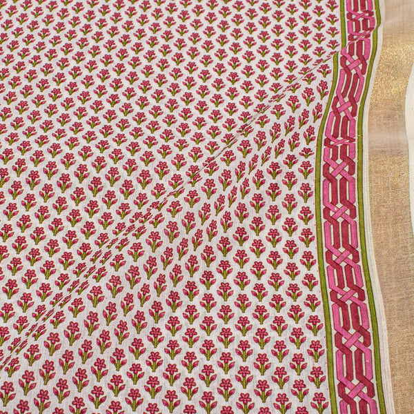 Off White Colour Floral Print With One Side Zari Border Soft Cotton Fabric