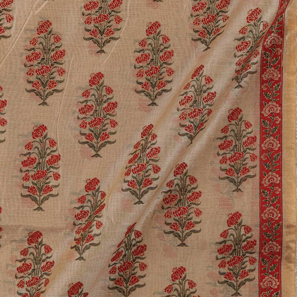 Chanderi Feel Dark Beige Colour Sanganeri Print 43 Inches Width Fabric