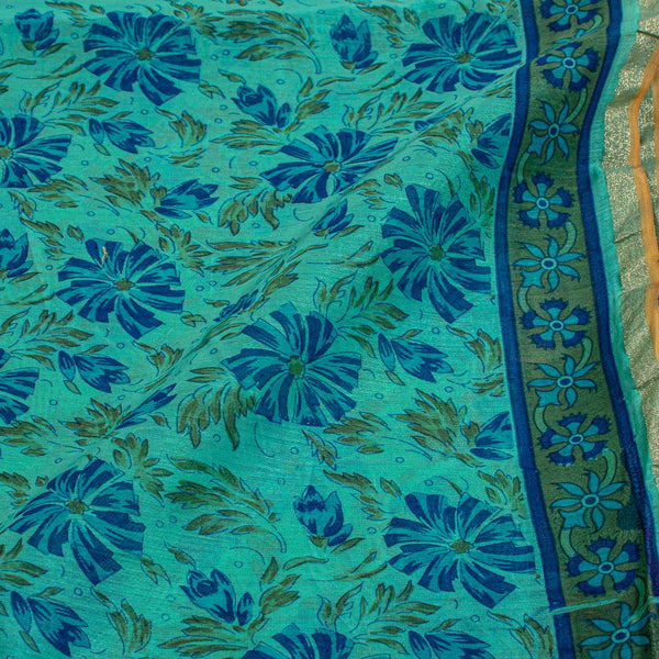 Mint Colour Floral Print With One Side Border Chanderi Feel Fabric