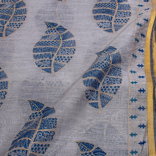 Grey Colour Gold Leaves Print With One Side Border Chanderi Feel Fabric