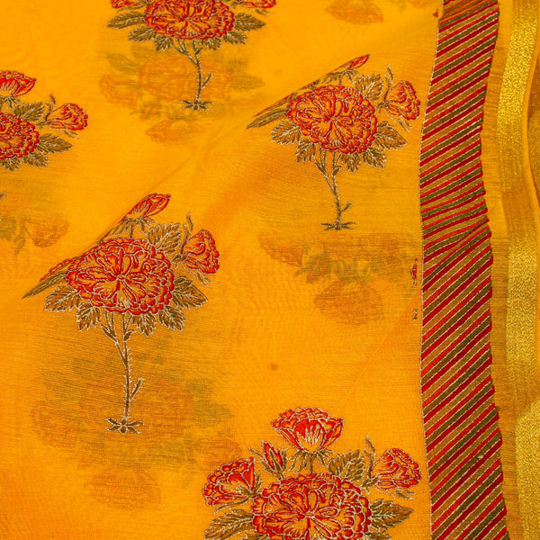 Golden Orange Colour Gold Floral Print With One Side Border Chanderi Feel Fabric