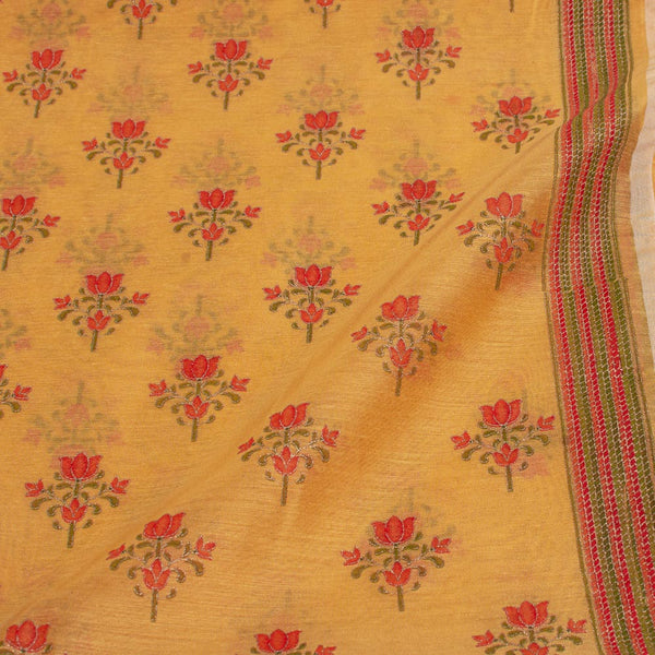 Yellow Colour Gold Floral Print With One Side Border Chanderi Feel Fabric