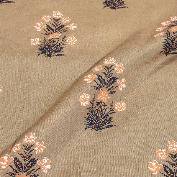 Beige Gold Colour Floral Print Soft Flex Cotton Fabric