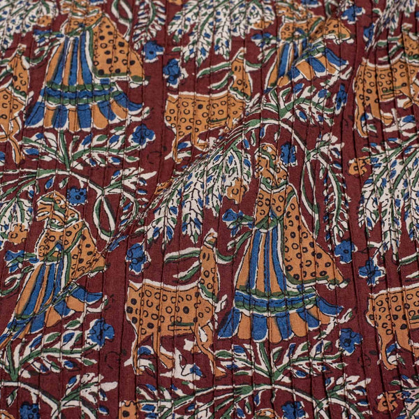 Coffee Brown Colour Village Block Print 36 inch Width Pin Tucks Cotton Fabric