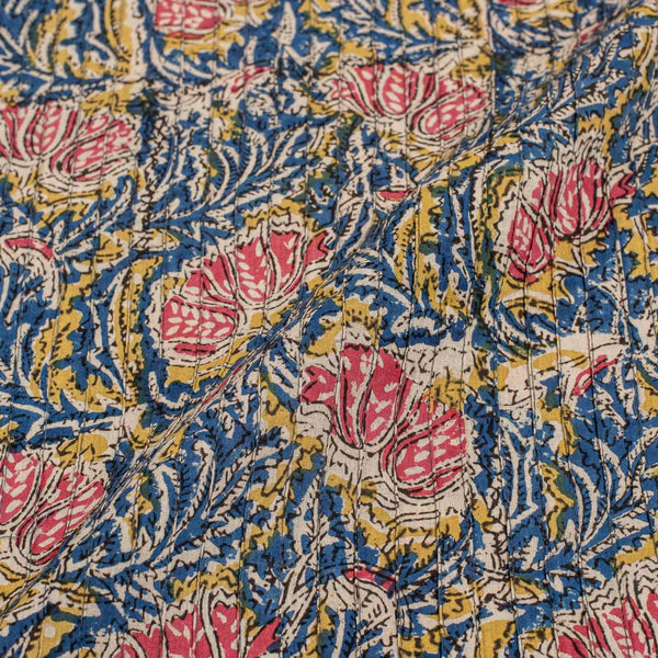 Blue Colour Floral Block Print 39 inch Width Pin Tucks Cotton Fabric